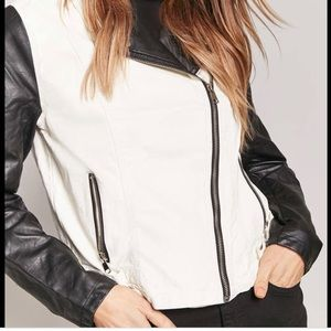 Forever 21 , black and white moto jacket ,size M .